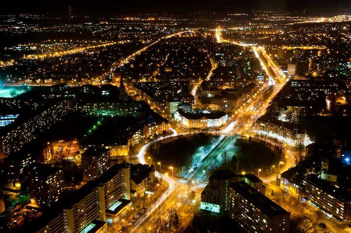 Wrocław nocą - widok ze Sky Towera